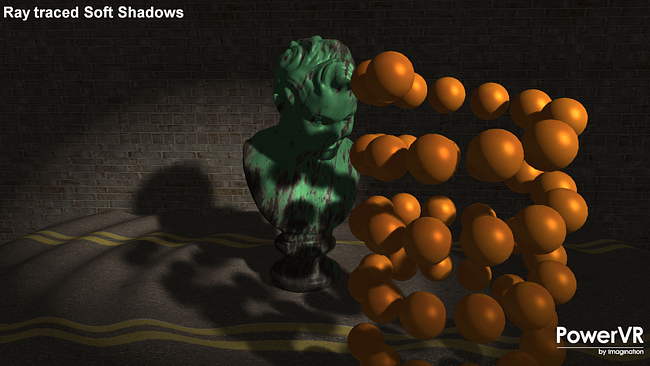 PowerVR GR6500 ray traced soft shadows