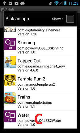 PVRTrace on Android - step 3