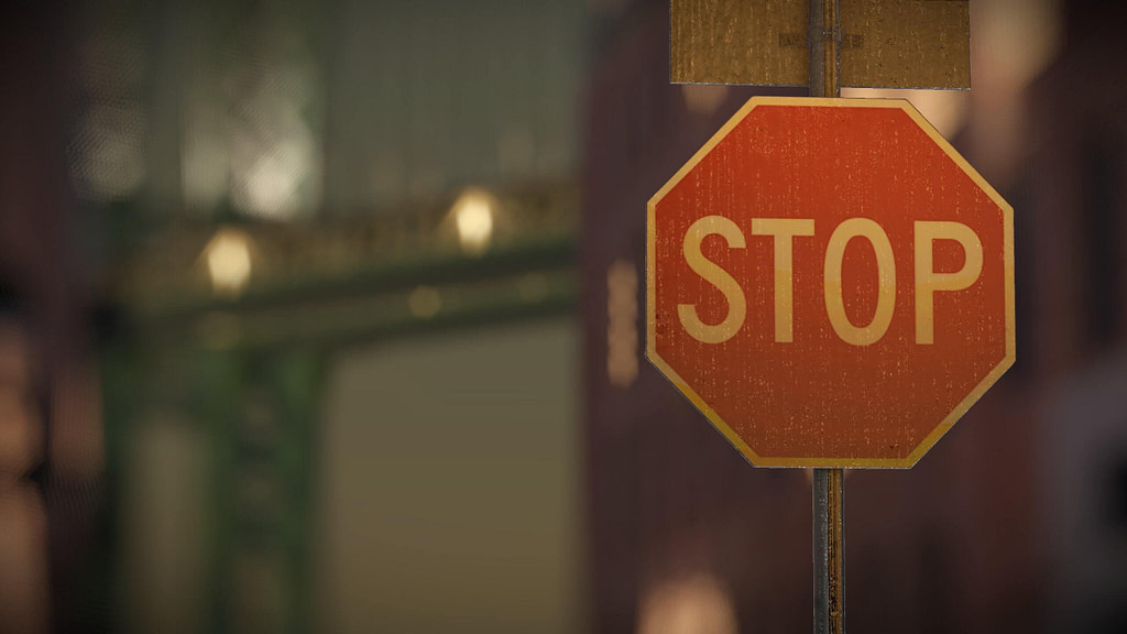 Depth of Field stop sign