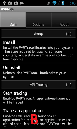 PVRTrace on Android - step 2