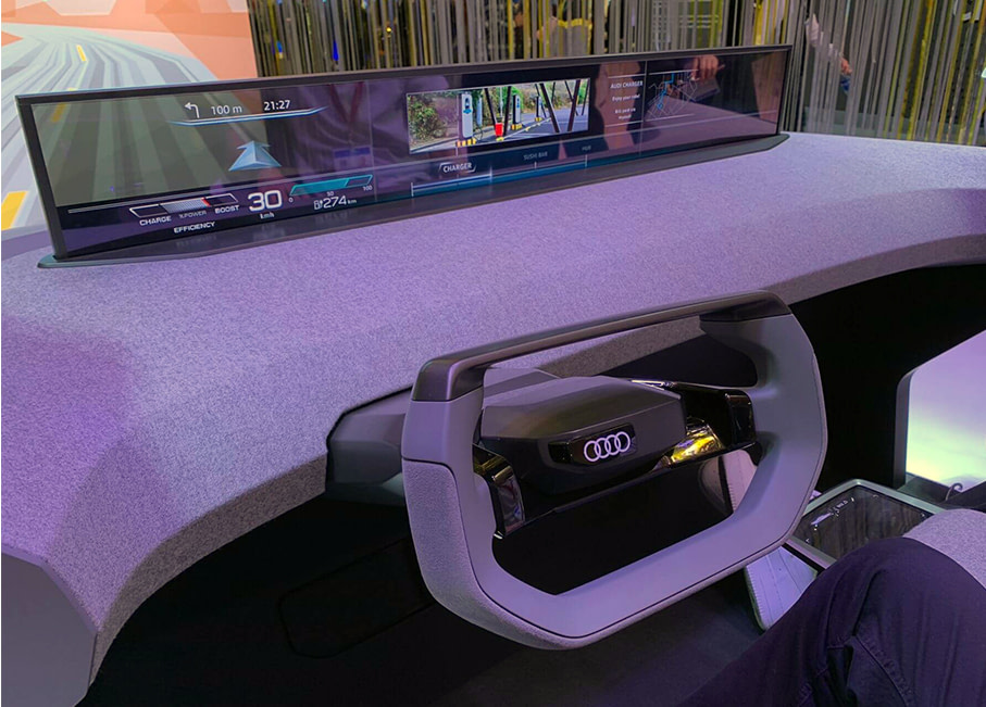 A prototype ultra-wide car display at CES 2020