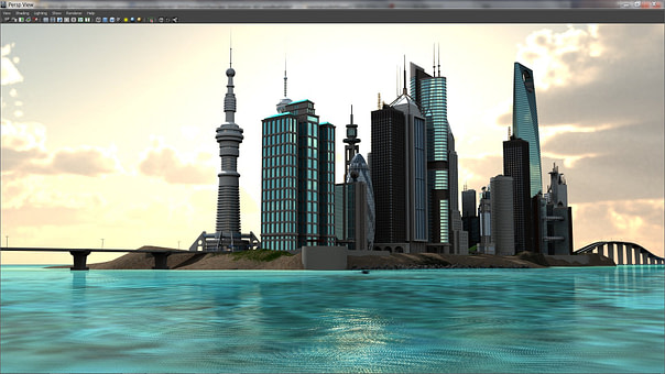 Island City scene rendered with Caustic's Vizualizer Maya plugin