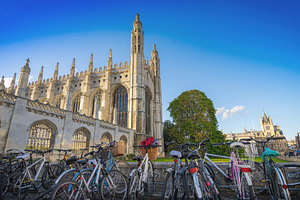 Cambridge cathedral and bikes