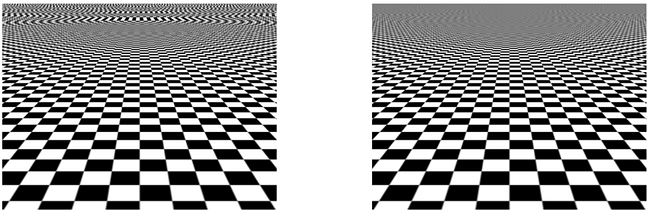 Figure 2: Texture aliasing: bilinear filtering (left) and trilinear filtering – MIP mapping (right)