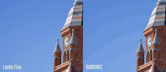 PowerVR video: banding effects in 8bit images