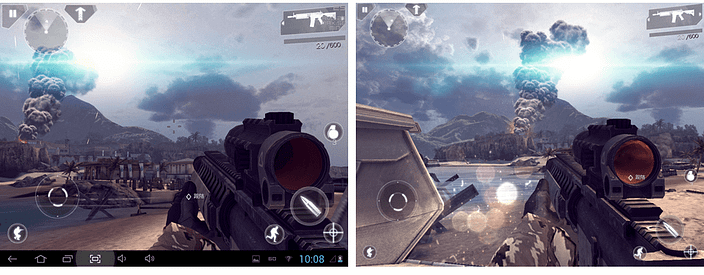 A popular FPS running on two very similar devices, but displaying different levels of effects on different operating systems